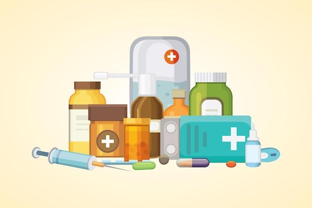 Concetto di farmacia con capsule di pillole