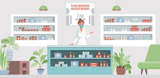 Illustrazione piana della farmacia con la giovane donna