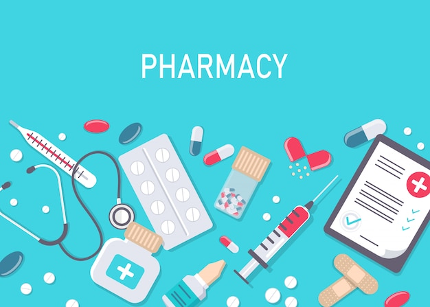 Illustrazione piatta farmacia.