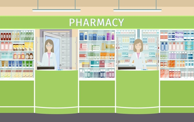 Interior design della farmacia con due personaggi femminili farmacisti ai banchi. farmacia con vetrine con medicinali