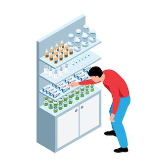 Illustrazione isometrica della farmacia con l'uomo che prende la medicina dallo scaffale