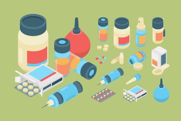 Farmacia isometrica. insieme di farmaci farmaci sanitari e pillole di medicina. capsula isometrica farmaceutica e antibiotico farmaco, vaccino e illustrazione del rimedio