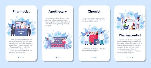 Set di banner per applicazioni mobili di farmacia