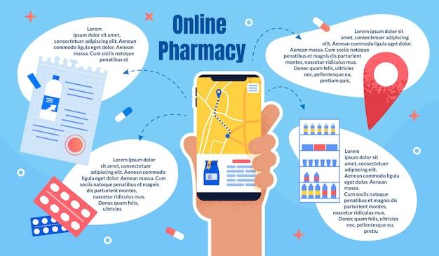 Applicazione mobile per farmacia piatta