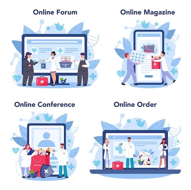 Servizio online di farmacia o set di piattaforme