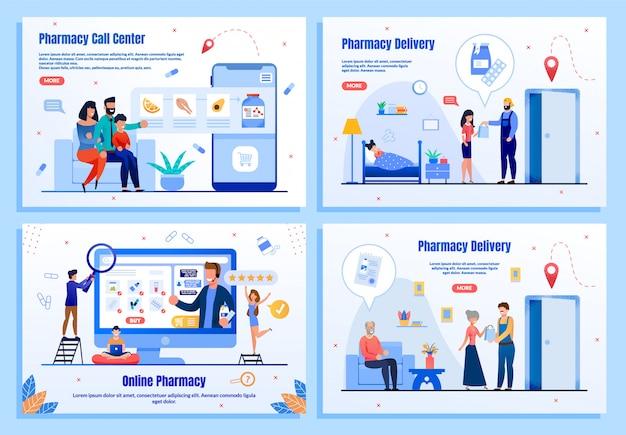 Set di pagine web piatte di servizi online di farmacia
