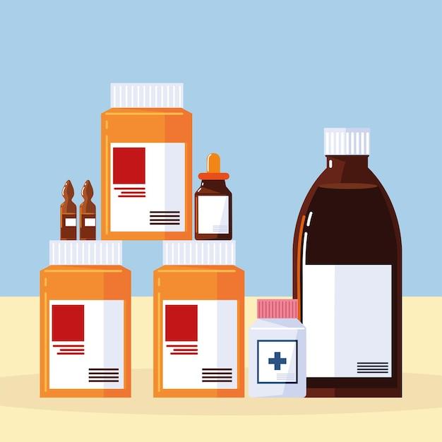 Pillole e flaconi della farmacia