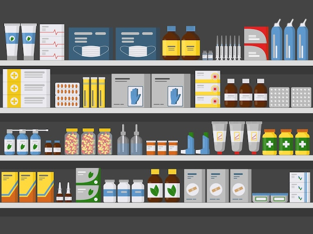 Scaffali della farmacia stoccaggio e vendita di farmaci compresse pillole bottiglie piatte illustrazione vettoriale