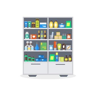 Vetrina della farmacia o scaffali del negozio. stoccaggio e vendita di farmaci, compresse di pillole di bottiglie in stile piatto.