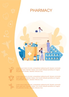 Banner web farmacia o brochure pubblicitaria. pillola medica per la malattia