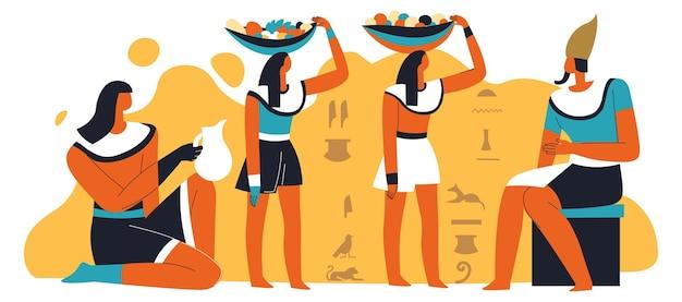 Faraone e schiavi con cibo e bevande che servono