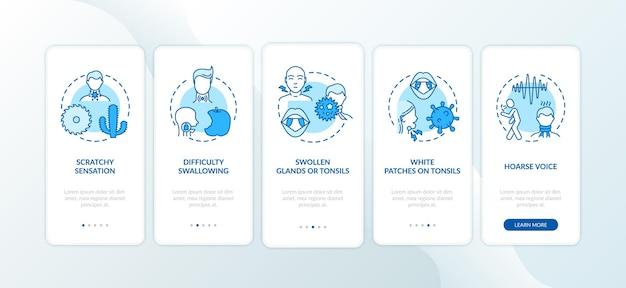 Sintomi di faringite durante l'onboarding della schermata della pagina dell'app mobile con concetti