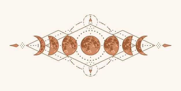 Fasi lunari con geometria sacra