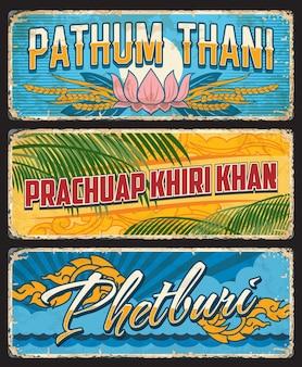 Phetburi, pathum thani e prachuap khiri khan, segni delle province tailandesi