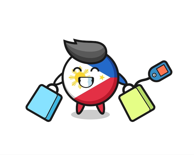 Fumetto della mascotte del distintivo della bandiera delle filippine che tiene una borsa della spesa, design in stile carino per maglietta, adesivo, elemento logo
