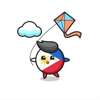 L'illustrazione della mascotte del distintivo della bandiera delle filippine sta giocando a un aquilone, un design in stile carino per maglietta, adesivo, elemento logo