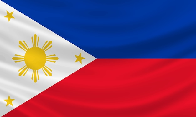 Bandiera delle filippine che ondeggia nel vento