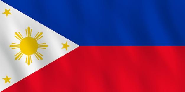 Bandiera delle filippine con effetto ondeggiante, proporzione ufficiale.
