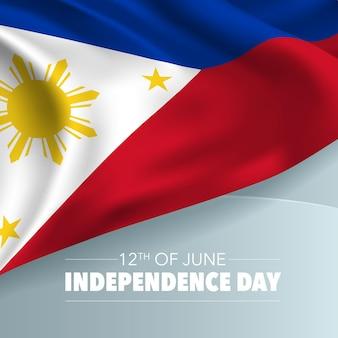 Cartolina d'auguri felice di giorno dell'indipendenza delle filippine