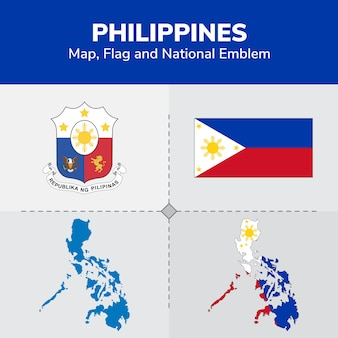 Mappa delle filippine, bandiera e emblema nazionale