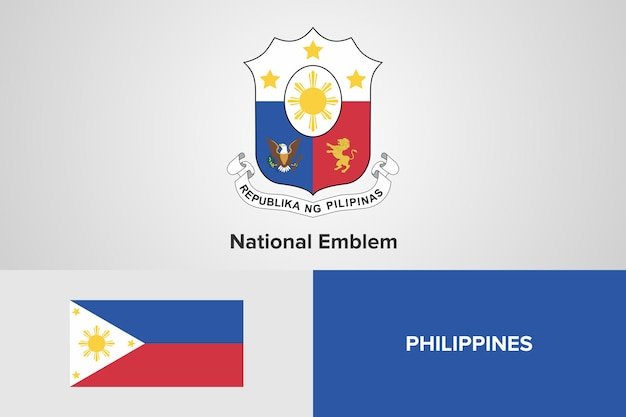 Modello di bandiera nazionale emblema delle filippine