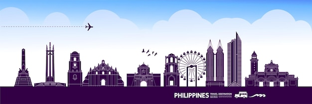 Illustrazione di destinazione di viaggio filippine.