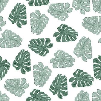 Modello senza cuciture della siluetta delle foglie tropicali della pianta del filodendro. carta da parati con foglia di monstera verde isolato su sfondo bianco. sfondo esotico. disegno vettoriale per tessuto, stampa tessile, confezionamento