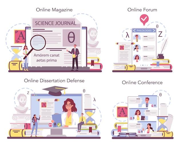 Servizio online di filologo o set di piattaforme. scienziato professionista che studia una struttura linguistica.