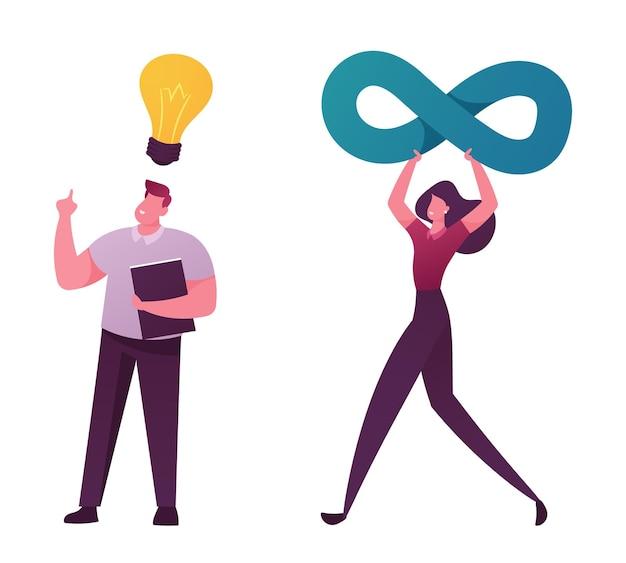 Filosofia del concetto di scienza. personaggio maschile con libro e lampadina incandescente sopra la testa hanno intuizione.