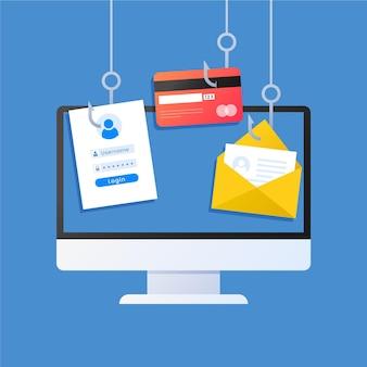 Concetto di account di phishing Vettore Premium