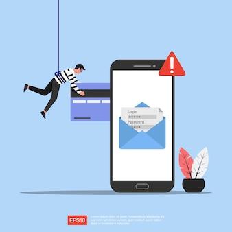 Illustrazione di concetto di phishing. criminalità informatica e frode online con simbolo di avviso telefonico.