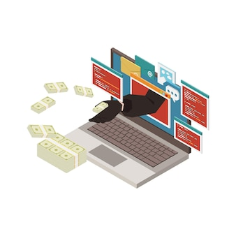 Concetto isometrico di phishing con hacker che ruba informazioni personali sulla carta di credito dei soldi