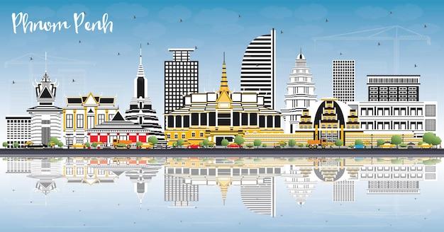 Phnom penh cambogia dello skyline della città con edifici di colore, cielo blu e riflessi. illustrazione di vettore. concetto di viaggio e turismo con architettura storica. phnom penh cityscape con punti di riferimento.