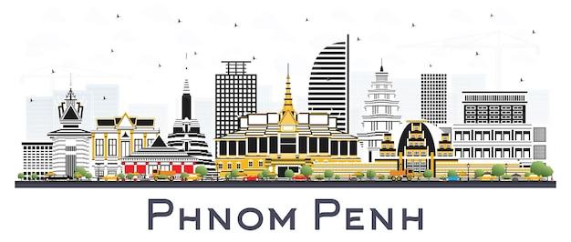 Phnom penh cambogia dello skyline della città con edifici di colore isolato su bianco. illustrazione di vettore. viaggi d'affari e concetto di turismo con architettura storica. phnom penh cityscape con punti di riferimento.