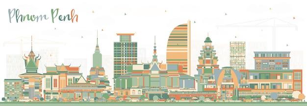 Phnom penh cambogia skyline della città con edifici di colore. illustrazione di vettore. viaggi d'affari e concetto di turismo con architettura storica. phnom penh cityscape con punti di riferimento.