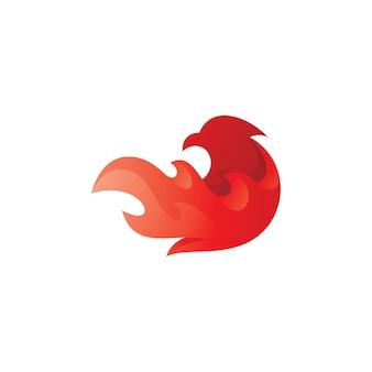 Phoenix bird and fire flame logo