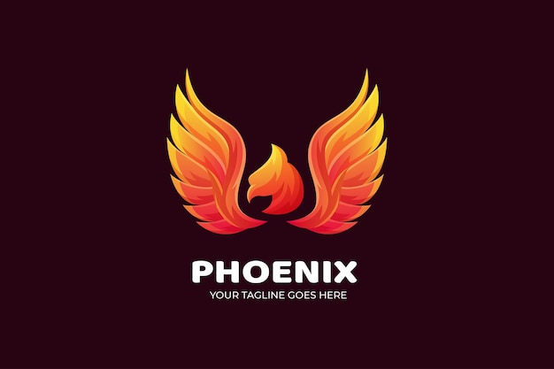 Modello di logo di lusso sfumato uccello phoenix