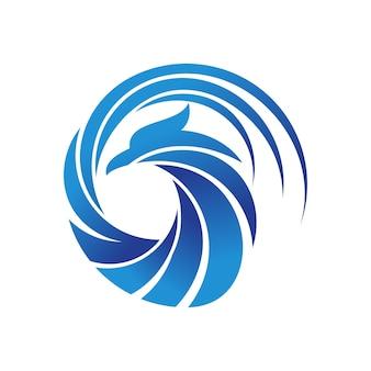 Modello di logo dell'uccello di phoenix