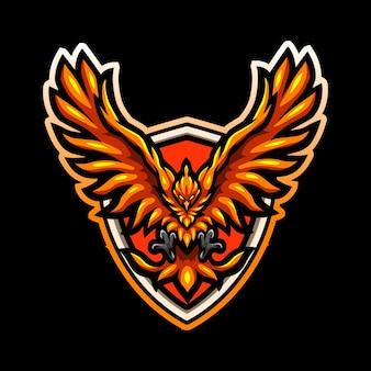Disegno del logo esport della mascotte dell'uccello della fenice