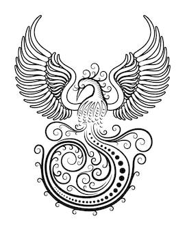 Decorazione dell'ornamento del tatuaggio dell'uccello di phoenix