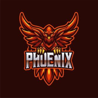 Modello di logo di gioco della squadra della mascotte di phoenix e-sports