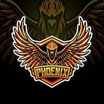 Phoenix esport logo carattere icona