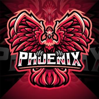 Design del logo della mascotte di phoenix esport
