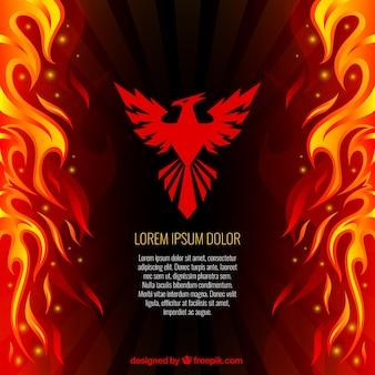 Phoenix e lo sfondo di fuoco Vettore Premium