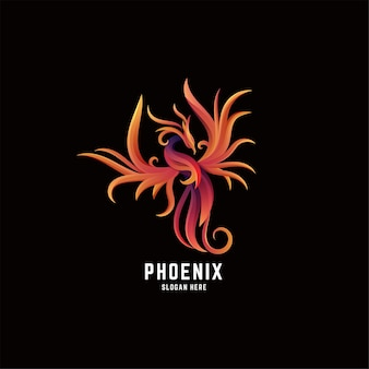 Phoenix fire gradiente colorfull logo design