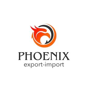 Phoenix head logo vector abstract round