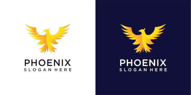 Collezione di ispirazione gradiente di design logo phoenix