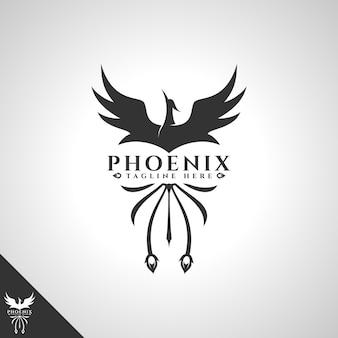 Logo di phoenix con il concetto di uccello coraggioso