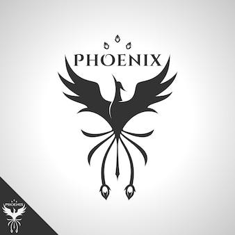 Logo di phoenix con il concetto di logo di coraggioso uccello