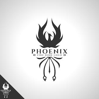 Logo phoenix con logo uccello concetto uccello di fuoco